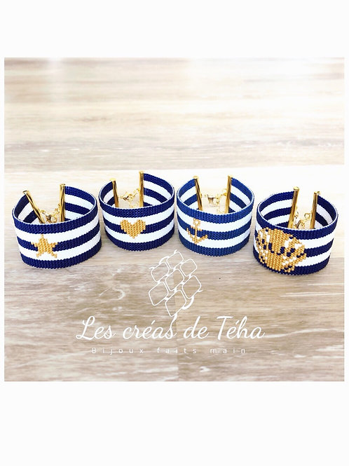 Bracelet Marinière en perles de verre et plaqué or