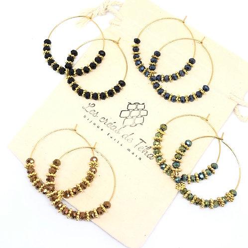 Créoles modèle Sun en acier inoxydable, perles de verre, intercalaire