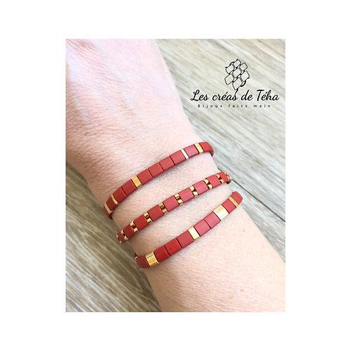Bracelet en perles Miyuki Tila bordeaux mat