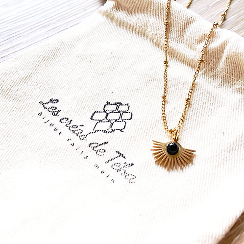 Collier Les créas de Téha modèle Ahitea en plaqué or et acier inoxydable