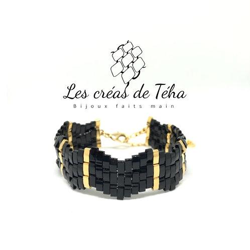 Bracelet tissé noir et or