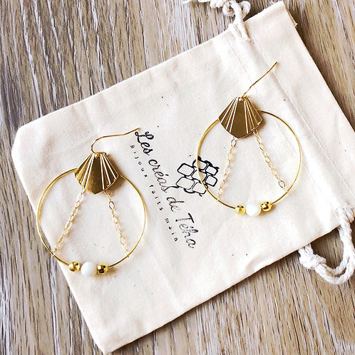 Boucles d'oreilles modèle Verano en plaqué or et perles de nacre