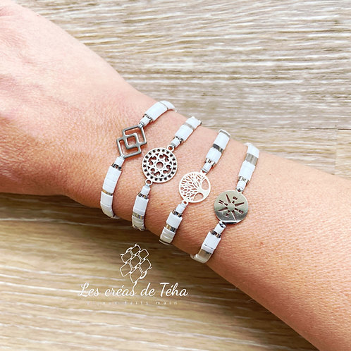 Bracelet Summer blanc et argenté
