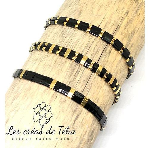 Bracelet fin noir et doré