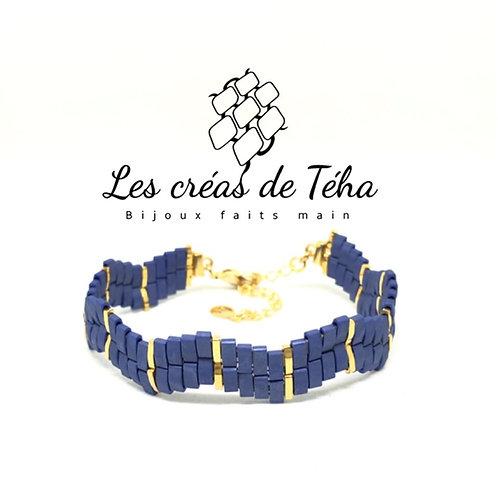 Bracelet tissé bleu et doré
