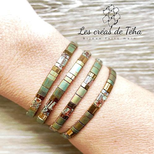 Bracelet Huira kaki et mordoré en perles de verre et cordon