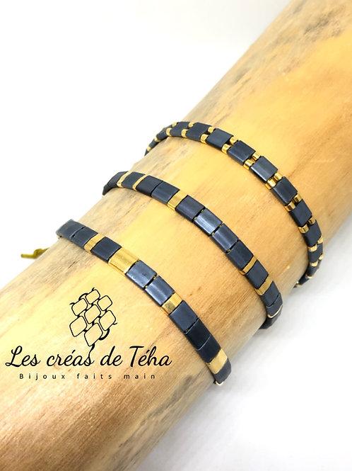 Bracelet bleu gris tila doré