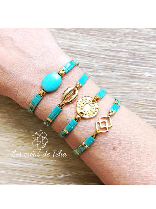 Bracelet Summer turquoise en perles de verre