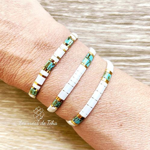 Bracelet Les créas de Téha modèle Huira turquoise et blanc