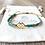 Bracelet Summer turquoise en perles de verre et losange en plaqué or
