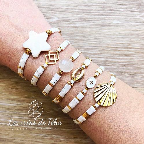 Bracelet Summer blanc et doré en perles de verre