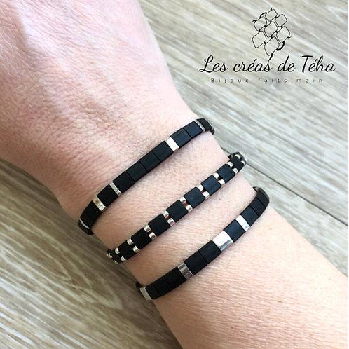 Bracelet en perles Miyuki Tila noir mat et argenté
