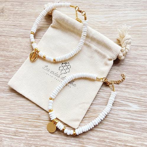 Bracelet de cheville Mōmoa en perles heishi en nacre et acier inoxydable
