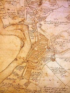 Cartina catastale Fratta del 1750 circa.