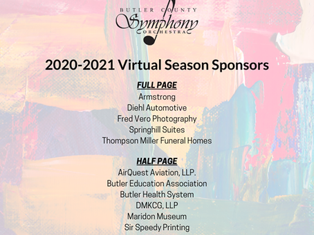 Thank you to all of our sponsors of the 2020-2021 concert season for keeping the music playing in Bu