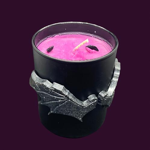 Black Glass Candle Medium Bat Wings