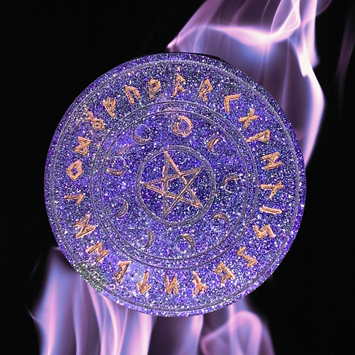 Round Resin Rune Candle Plate