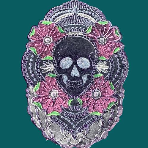 Skull Mandala Resin Candle Plate
