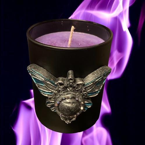 Black Glass Candle Medium Moth Eye