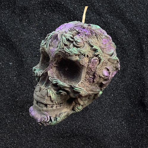 Floral Skull Candle