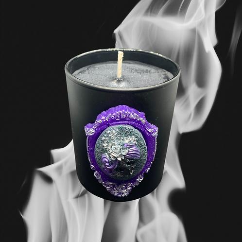 Black Glass Candle Medium Skull Woman Cameo