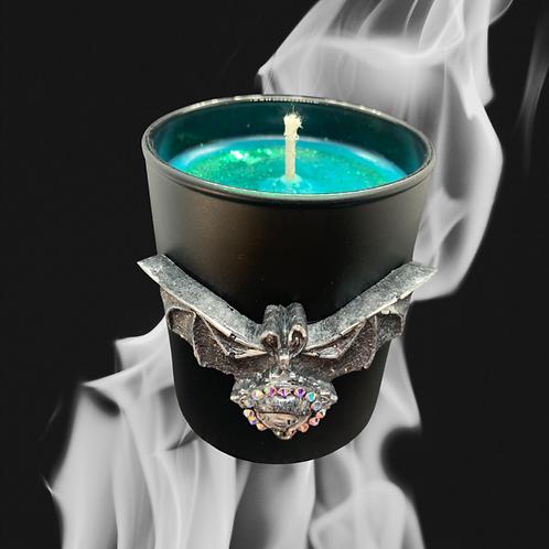 Black Glass Candle Medium Bat