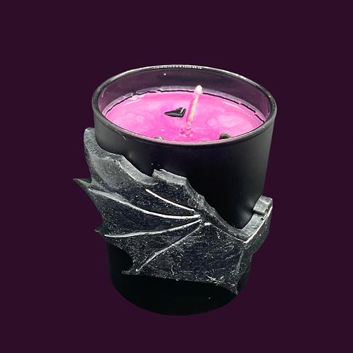Black Glass Candle Medium Big Bat Wing