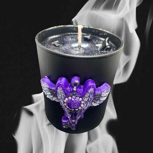 Black Glass Candle Medium Key Wings