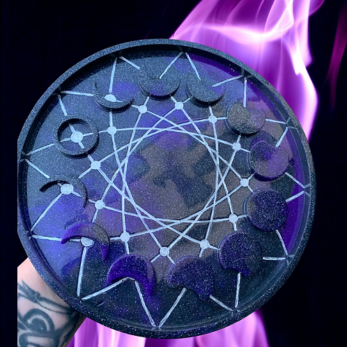 Round Resin Moon Cycle Candle Board
