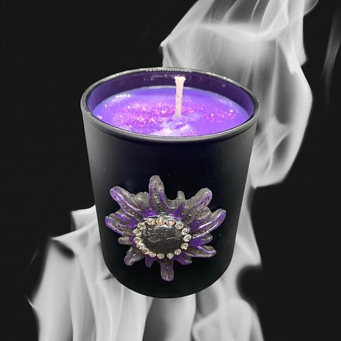 Black Glass Candle Medium Sun