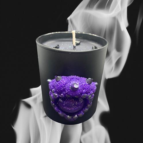 Black Glass Candle Medium Demons Horn