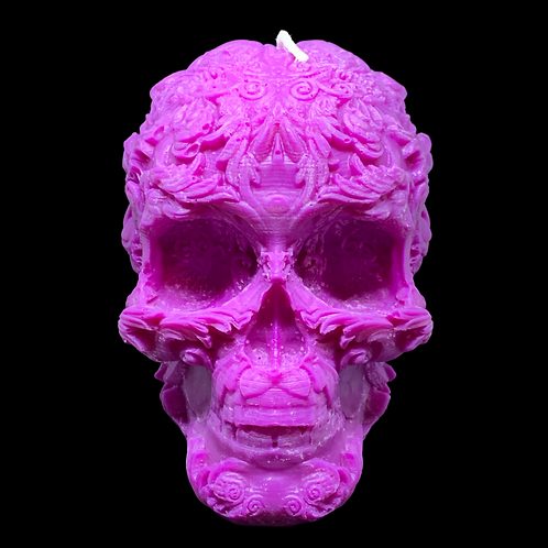Large Floral Skull Candle