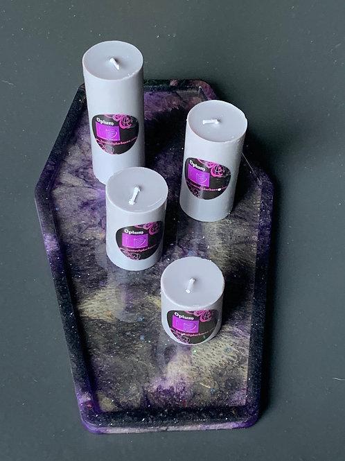 Resin Coffin Trinket Tray, large + Set of 4 Pillar Candles