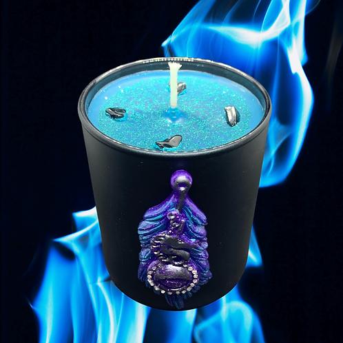 Black Glass Candle Medium Feather