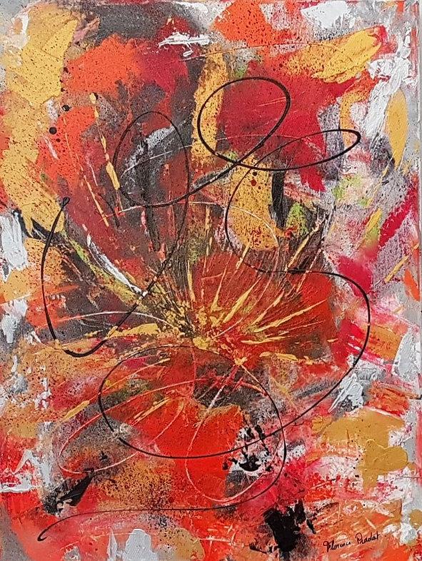 Fleurs de Capucines, tableau abstrait, orange ,Art, peinture Acrylique,Artiste Peintre