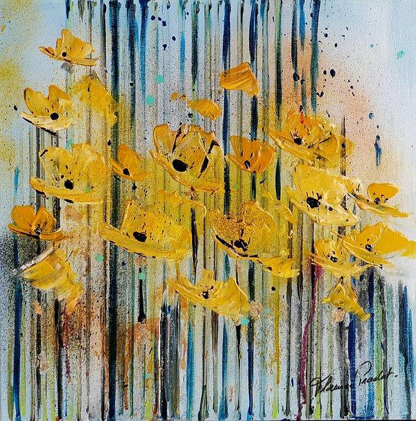 pavots#fleurs#rouge#art#abstrait#exposition#artiste#jaune