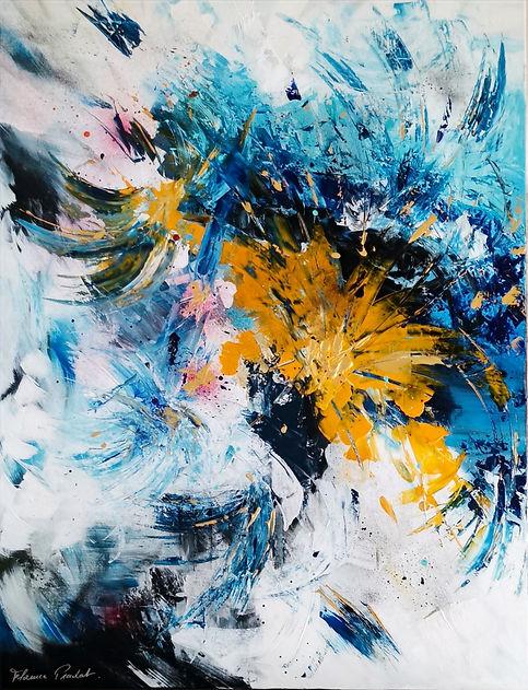 Emergence, fleur ,art, artiste,peinture, jaune ,bleu, abstrait