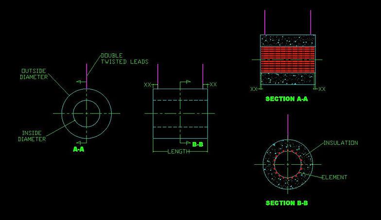 Ceramic Vacuum Formed Fiber Cylinder Heater Drawing
