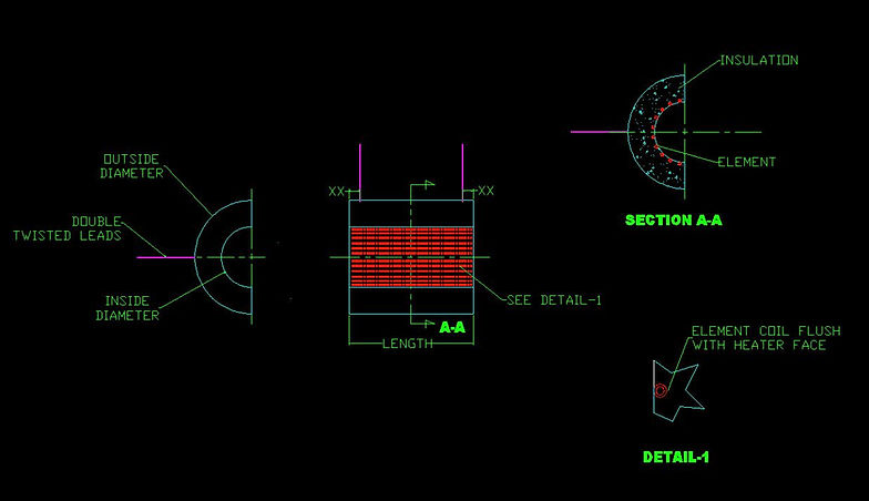 Ceramic Vacuum Formed Fiber Semi-Cylinder Heater Drawing