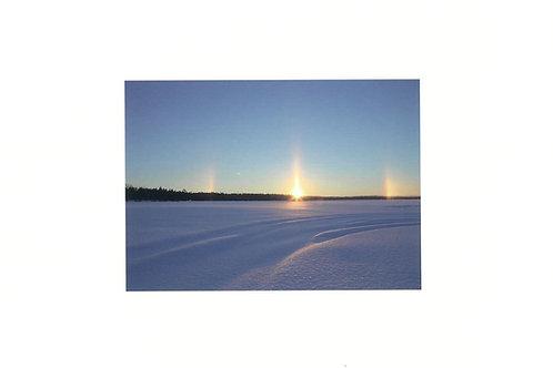 かくたみほさんポスター(A4)ラップランドの冬、太陽柱。