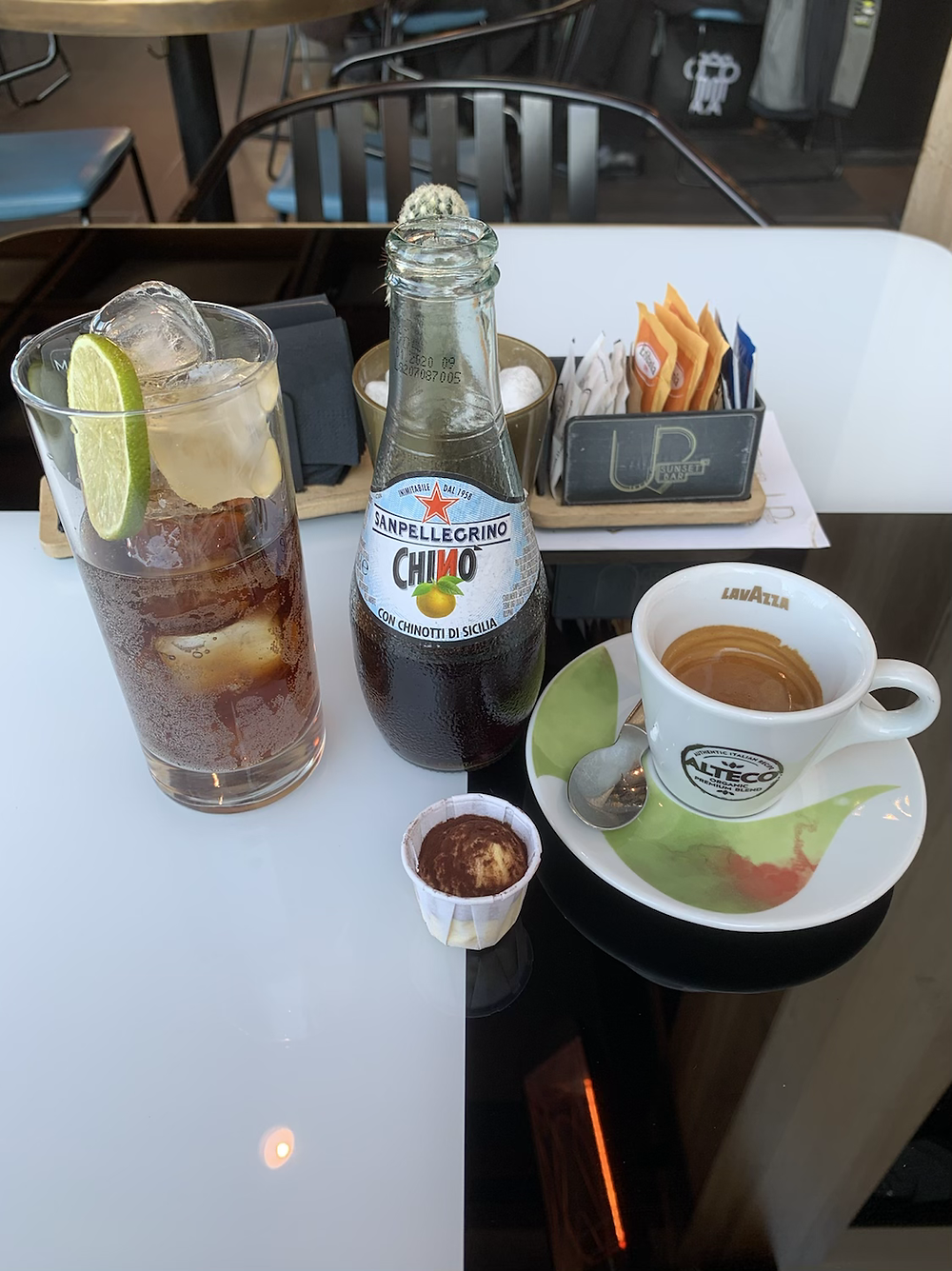 When you order chinotto in Rome, they will ask you if you want it with ice, slice of lemon or orange. I prefer it with ice and a slice of orange, it underlines the same family fruit in the drink.