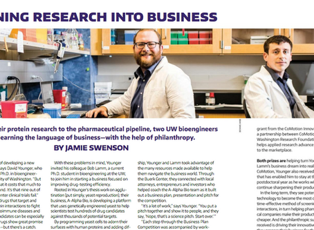 Turning Research Into Business: A-Alpha Bio featured in UW alumni magazine, Columns