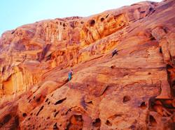 rock climbing couple engagement