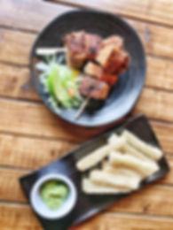 pork belly chicharrones with yuca cassava