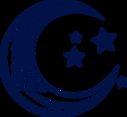 Lune et étoiles en noir et blanc dessinés. Dans un style vintage. Côté lunaire. Illustration pour un encart  Tarots et évênements.