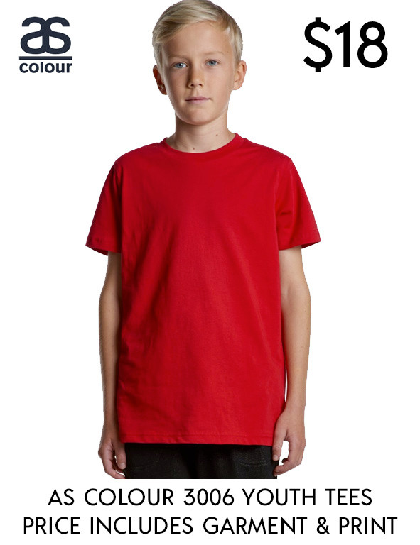AS Colour 3006 best value custom printed Youth t-Shirts in Australia!