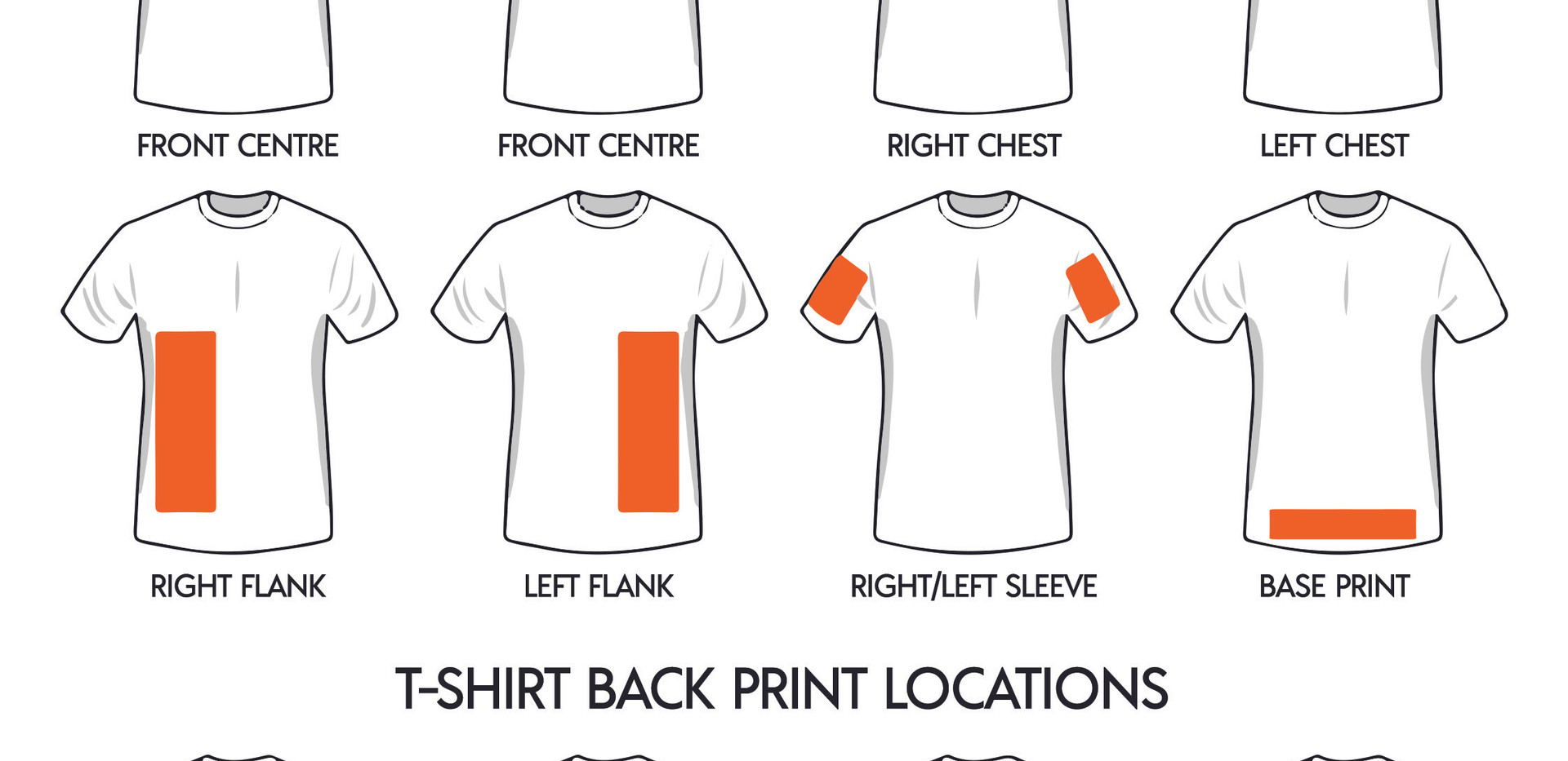 Custom Print T-Shirt Locations