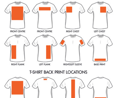 Custom Print T-Shirt Locations