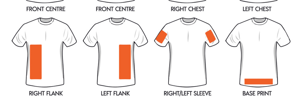 Where to print on a Ladies AS Colour T-shirt