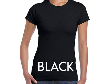 BLACK Custom Printed Ladies Cut T-shirts